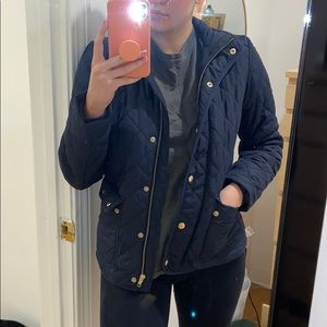J.Crew Jacket | XS Navy Down Coat with Gold Detail